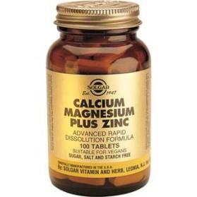SOLGAR CALCIUM MAGNESIUM PLUS ZINC 100 COMPRIMID